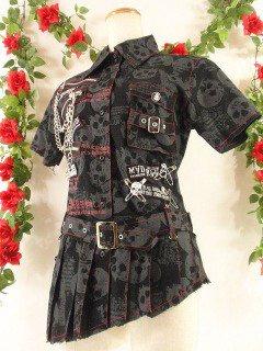 フリル風プリーツロングシャツパンク風アシンメトリー髑髏柄チェーン付き 黒Mサイズ