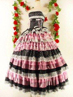 フリルプリンセスドレス13段ティアードフリルスピンドル使いgirlstyle 黒ピンクフリーサイズ