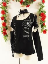 フリルチョーカー付カットソーセパレート袖右スピンドルmadgirl 黒白Mサイズ