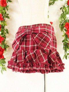 フリルミニスカート後リボン裾フリル ピンクMサイズ