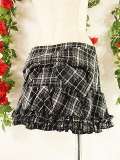 フリルミニスカート後リボン裾フリル 黒Mサイズ