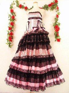 フリルプリンセスドレス13段ティアードフリルスピンドル使いgirlstyle ピンク黒フリーサイズ