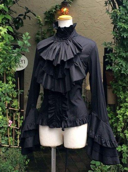 フリルブラウスジャボタイ付姫袖王子ファッション黒 刺繍可