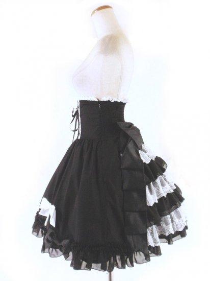 フリルコルセットミディアムスカート背面シャーリング&ティアードフリル 黒白