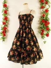 フリルワンピースバラ柄シャーリングミディアム丈裾フリルcarenna 黒Mフリーサイズ