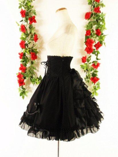 フリルコルセットミディアムスカート背面シャーリング&ティアードフリル 黒フリーサイズ