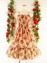 フリルワンピースバラ柄シャーリングミディアム丈裾フリルcarenna ピンクMフリーサイズ