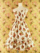 フリルワンピースバラ柄シャーリングミディアム丈裾フリルcarenna 白Mフリーサイズ