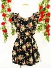 袖二段フリル胸元パールビース付きワンピースバラ柄rastars& 黒MSサイズ