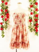 フリルワンピース裾二段フリルバラ柄シャーリング ピンクフリーサイズ