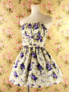 ウエストリボン背面シャーリング紫バラ柄rosebowl99 白&紫Mサイズ