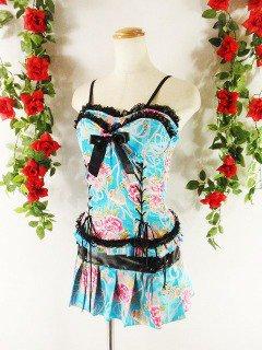 フリル風プリーツミニスカート&スピンドルフリルビスチェ和柄girlstyle 水色Sフリーサイズ