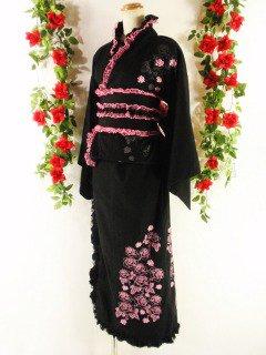 フリル浴衣バラ柄ゴシック風ロング丈madgirl 黒&ピンクフリーサイズ