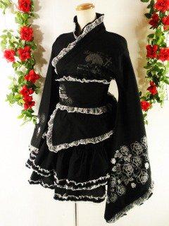 フリル浴衣2ピースバラ柄ゴスロリ風madgirl 黒&白フリーサイズ