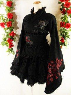 フリル浴衣2ピースバラ柄ゴスロリ風madgirl 黒&赤フリーサイズ