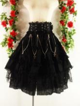 フリルゴスロリ風スカートクロスチェーン付きkeath 黒フリーサイズ