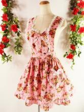 レースフリルエプロン胸リボンバラ柄girlstyle ピンクフリーサイズ