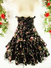 フリルコルセットロングスカートフロントフリル&スピンドルdrughoney 黒バラ柄フリーサイズ