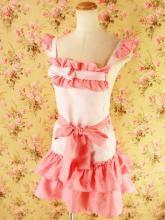 フリルエプロン裾2段フリル胸リボン付き ピンクフリーサイズ