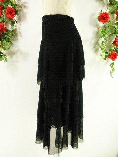 フリルロングスカート5段ティアードcolorful! 黒フリーサイズ