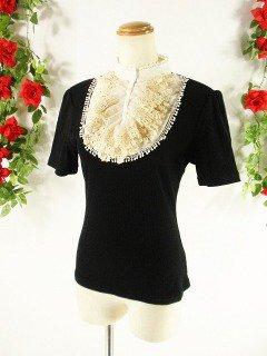 フリルカットソー貴族風フリルstellamaris 黒Lフリーサイズ