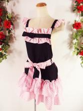 フリルエプロン裾2段フリル胸リボン付き 黒&ピンクドットフリーサイズ