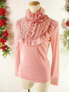 フリルカットソーロココ調レースフリル胸元ビーズ刺繍 ピンクフリーサイズ