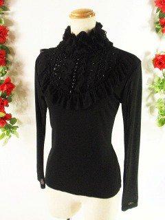 フリルカットソーロココ調レースフリル胸元ビーズ刺繍 黒フリーサイズ