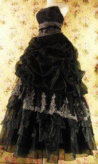 フリルプリンセスドレス4段ティアードフリルバラコサージュ付girlstyle 黒フリーサイズ