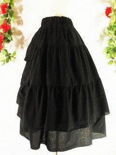 フリルミディアムスカート前ドレープフリルnextscene 黒フリーサイズ