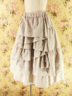 フリルミディアムスカート前ドレープフリルnextscene ベージュフリーサイズ