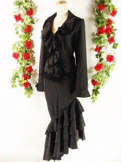 3段ティアードフリルアシンメトリースカート&フリルジャケットセットprincess 黒白Sフリーサイズ