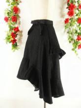 フリルロング巻きデニムスカートアシンメトリー 黒フリーサイズ
