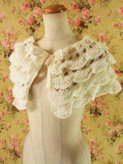 フリルミニケープ手編み風4段ティアードフリル オフホワイト×オフホワイトフリーサイズ