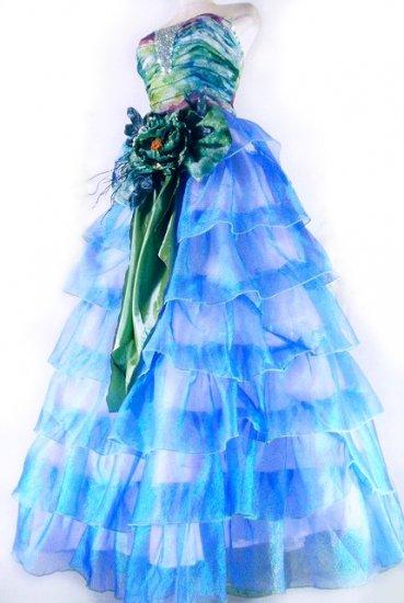 フリルプリンセスドレス7段ティアードフリル大きなリボンとお花コサージュ付きgirlstyle 青フリーサイズ