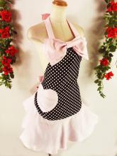 フリルエプロンハートポケット胸大リボン付きmintpoint 黒ドット&ピンクフリーサイズ