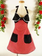 フリルエプロン胸リボンレースフリル付き 赤ドット&黒