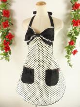 フリルエプロン胸リボンレースフリル付き オフホワイトドット&黒