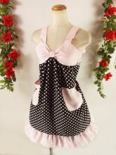 フリルエプロン胸リボンレースフリル付き 黒ドット&ピンク