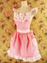 フリルエプロンハートポケット胸リボン付きmintpoint ピンクドット&ピンクフリーサイズ