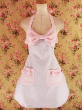 フリルエプロン胸リボンレースフリル付き パープルドット&ピンク