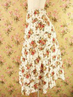 フリルティアードロングスカート 白バラ柄フリーサイズ