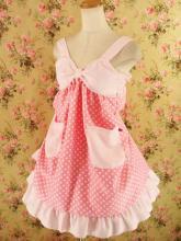 フリルエプロン胸リボンレースフリル付き ピンクドット&ピンク