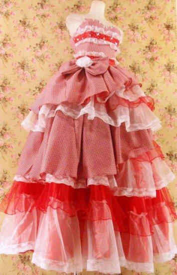 フリルメルヘンプリンセスドレス9段ティアードフリル大きなリボン付きgirlstyle 赤フリーサイズ