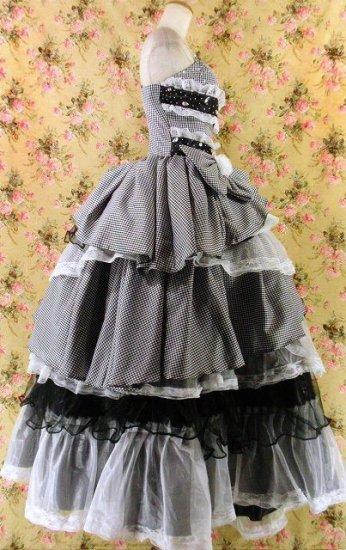 フリルメルヘンプリンセスドレス9段ティアードフリル大きなリボン付きgirlstyle 黒フリーサイズ