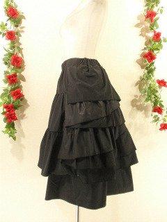 フリルミディアムスカート前ドレープフリルangelplus 半光沢黒フリーサイズ