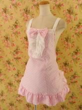 フリルエプロン胸リボン裾ダブルフリルsugardollmilk ピンクフリーサイズ