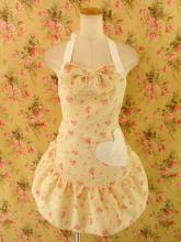 フリルエプロン胸リボンフリル付きハートポケット薔薇柄sugardollmilk 黄フリーサイズ