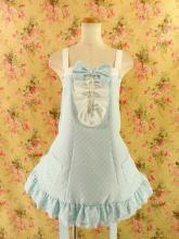 フリルエプロン胸リボン裾ダブルフリルsugardollmilk 青フリーサイズ