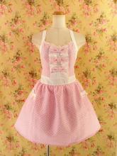 フリルエプロン胸リボン&フリルピンドット ピンク